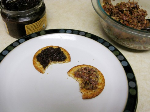 crackers with tapenade